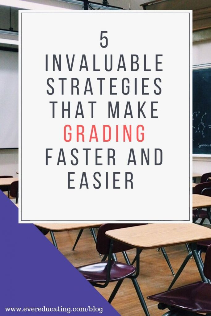 Looking to speed up your grading, but don't want to shortchange your students when it comes to feedback? Try these five strategies that will make grading easier and quicker than ever before! #teacher #grading #teachertips #assessment #feedback