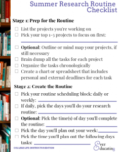 Summer Research Routine Checklist