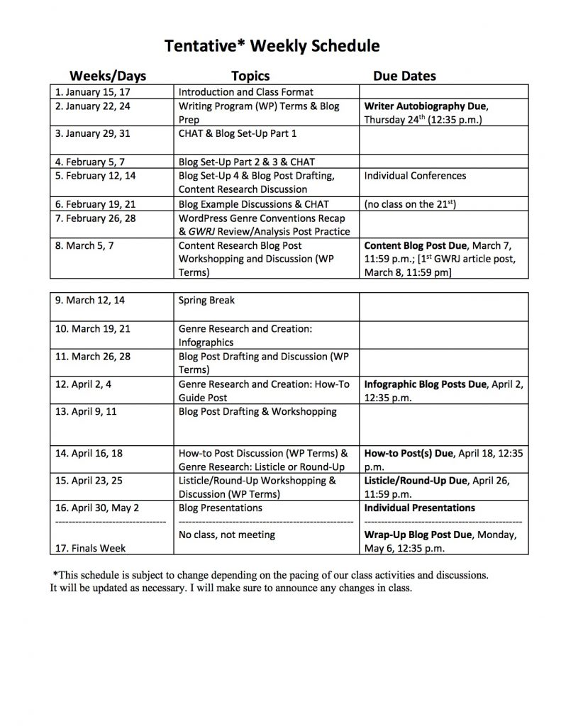 This is an example course schedule for the college class, Composition as Critical Inquiry. In this post, I provide advice on creating a college course schedule.