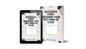 Here's a 60+ page workbook all about designing your first week of a college class. It covers creating the syllabus, course schedule, icebreakers, major assignment sheets, and a student self-assessment. If you're new to teaching college courses, this workbook is for you.