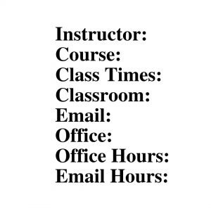 Instructor Information - Syllabus Examples