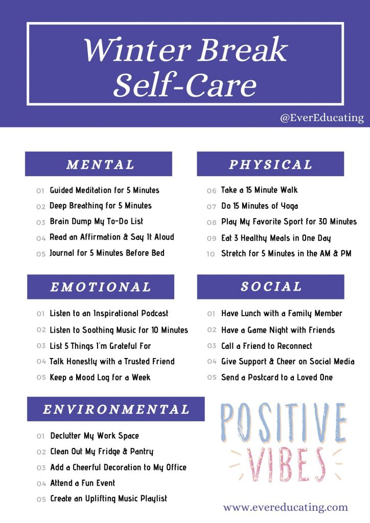 Here are some self-care activities to try out during winter break, especially if you plan to work through it! #selfcare #highered