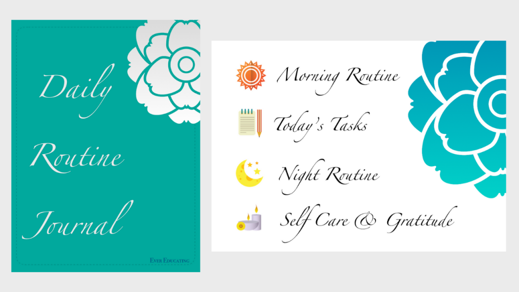 These Daily Routine Digital Journals include four page layouts: morning routine, today's tasks, night routine, self care and gratitude.