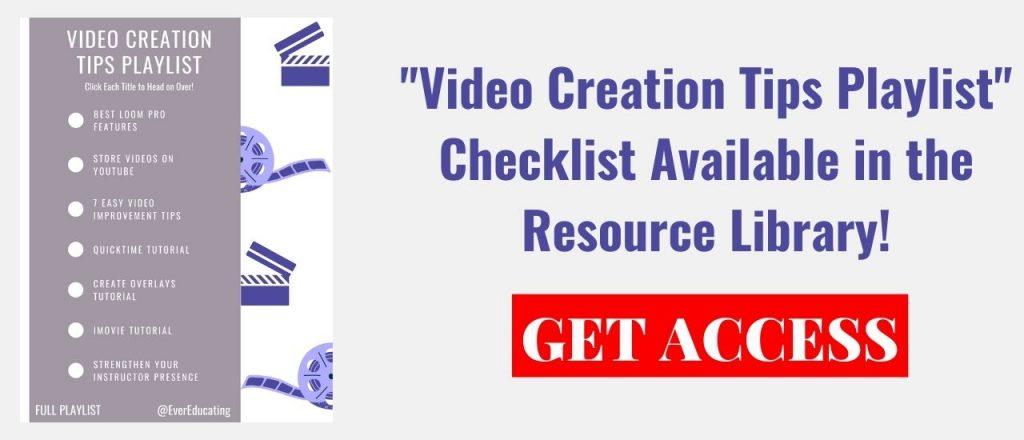 Video Creation Tips Playlist Checklist